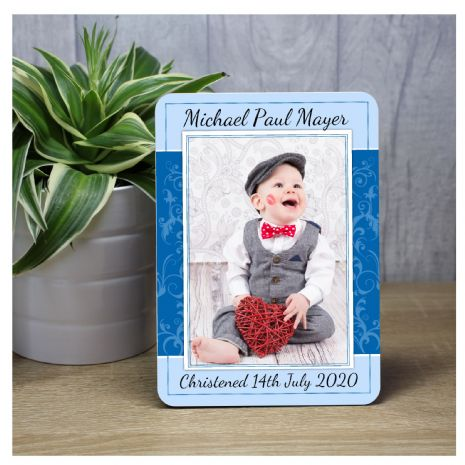 Personalised Boys Christening Baptism Wood Photo Panel Print F40
